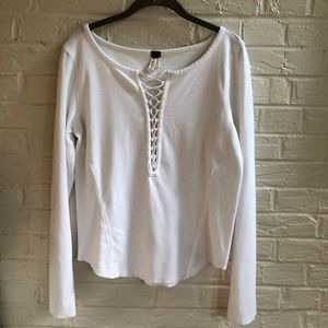 Free People white lace-up long sleeve shirt